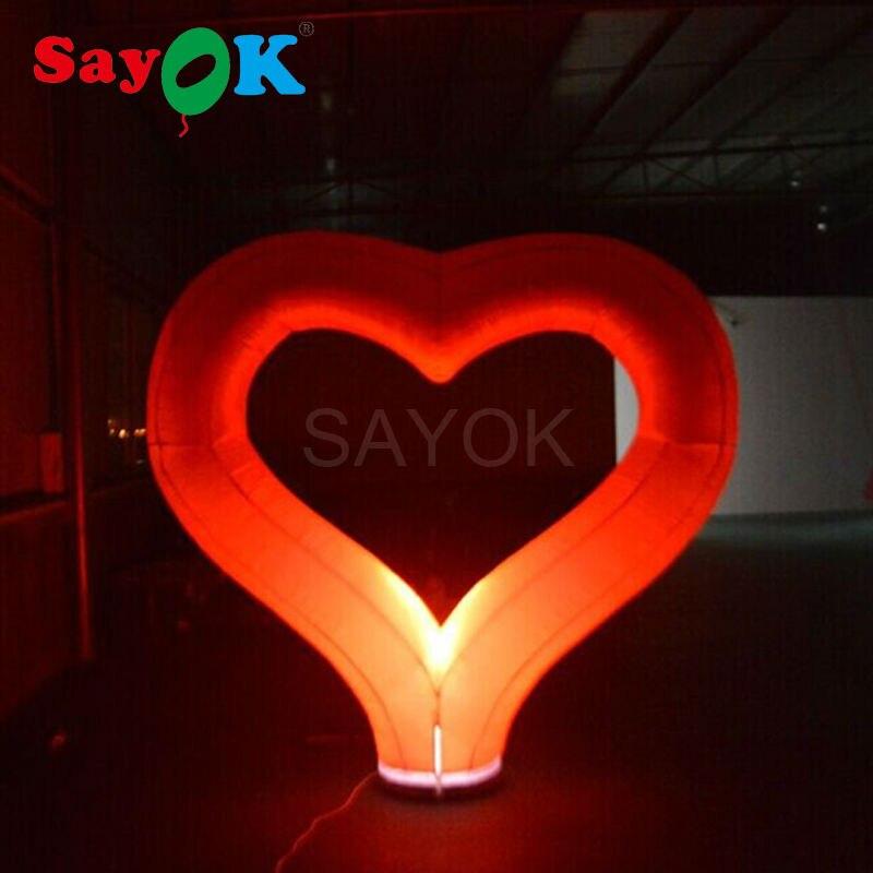 Coeur rouge gonflable d'éclairage de décoration de saint-valentin de vente chaude avec l'éclairage mené pour le mariage de partie