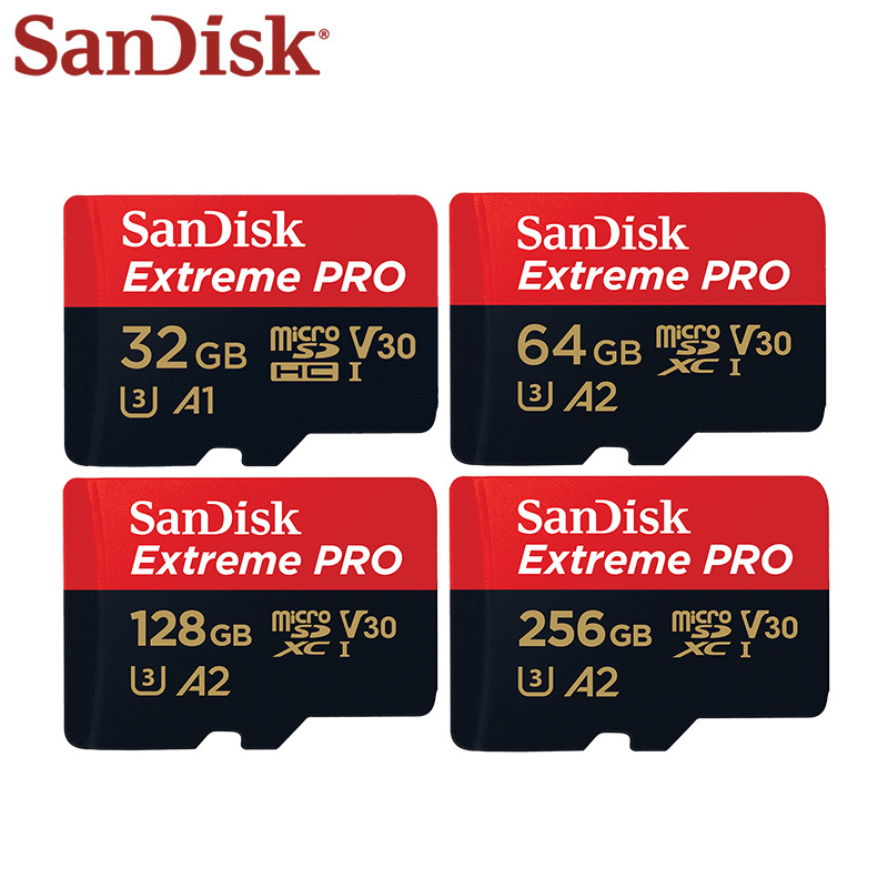 Sandisk Extreme PRO Card 64GB 128GB 256GB A2 Class 10 UHS-I U3 Max Speed Reading 170MB/s V30 32GB A1 Micro SD Card Memory Card