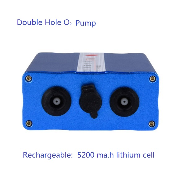 Double hole silence oxygen pump pocket O2 device for fish can use 12 to 30 hours rechargeable 8 hours