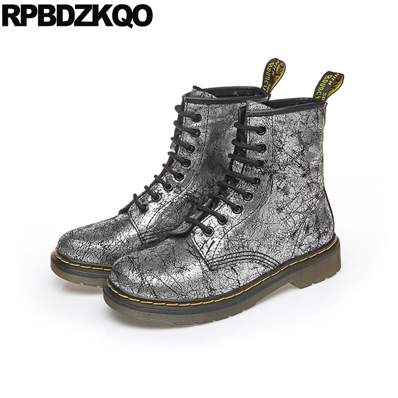 Grey Booties Punk Shoes Front Lace Up Casual Ankle Boots Autumn Metallic Big Size Flat Silver Round Toe Motorcycle Designer