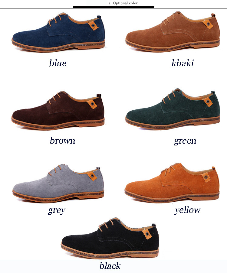 New 17 Fashion Men Shoes Suede Leather Casual Flat Shoes Lace-up Men's Flats for Man Rubber Outsole Driving Shoes Footwear 5