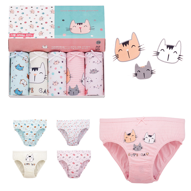 1 Pcs 2 To 12 Years Kids Cotton Panties Girl Panties Female Cartoon Printed Children Baby Comics Pants Bowknot Briefs Underwear
