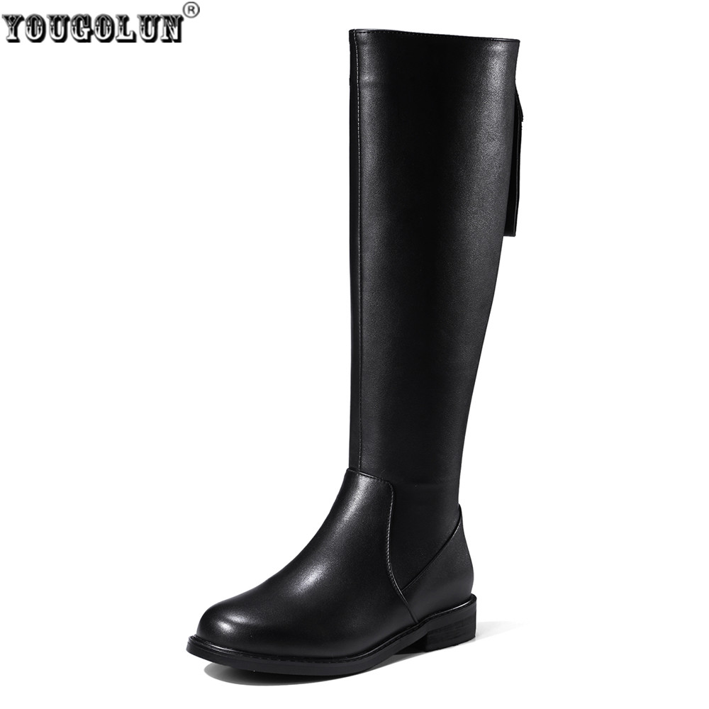 YOUGOLUN women fashion knee high boots woman autumn winter thigh high boots women's genuine leather PU boots ladies black shoes yougolun ladies fashion thigh high over the knee boots woman autumn winter womens female sexy nubuck suede leather women shoes