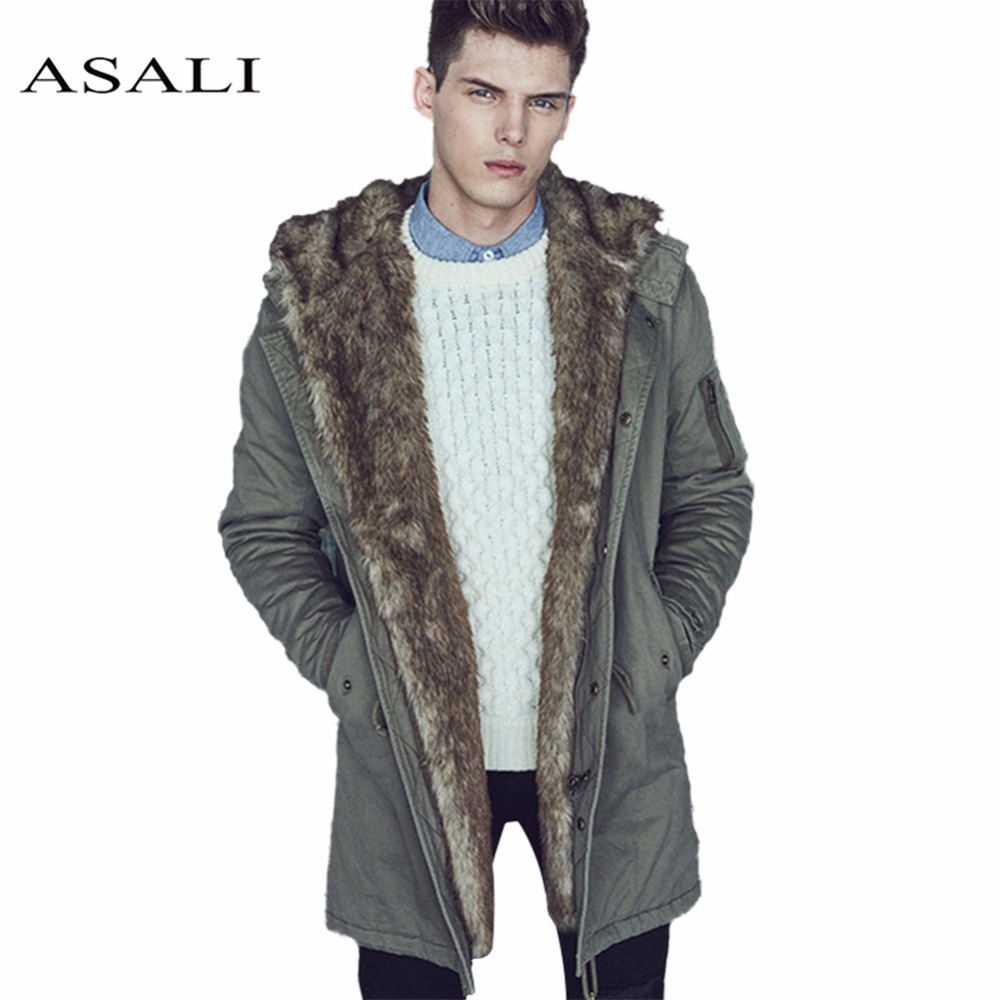 ASALI Mens Winter Long Parkas Fur Hooded Jacket Men Casual Thick Warm Cotton Coat Male Fashion Long Outwear Down Jacket Coat winter jacket female parkas hooded fur collar long down cotton jacket thicken warm cotton padded women coat plus size 3xl k450