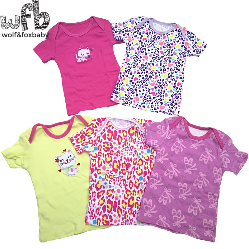 Retail 5pcs/pack 0-24months short-sleeve t shirt Baby Infant cartoon newborn clothes for boys girls cute Clothing summer 2018 new arrived baby girls dresses summer clothes cute cartoon mickey printed milksilk short sleeve children infant dress for g