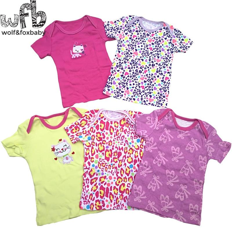 Retail 5pcs/pack 0-24months short-sleeve t shirt Baby Infant cartoon newborn clothes for boys girls cute Clothing summer