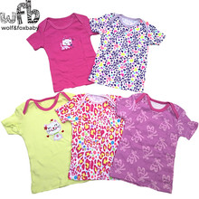 5pcs/pack Baby cartoon short-sleeve t shirt 0-24months