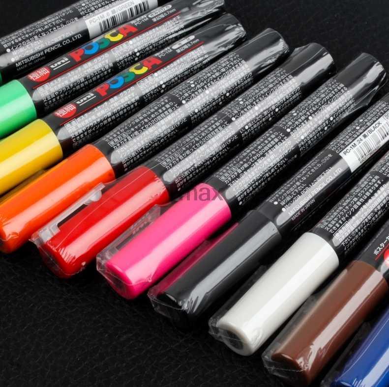 12 Colors Set Mitsubishi Uni Posca PC-1M Paint Marker- Extra Fine Bullet Tip-0.7mm Art Marker Pens Office School