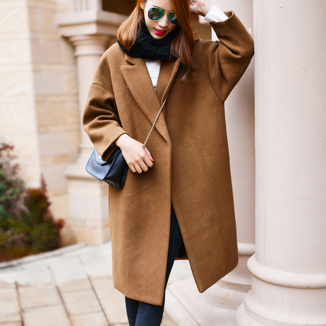 5d9e8070865 Oversized Wool Coat With Quilting Winter Warm Trench coats abrigos mujer  Grey Camel Long Thick Women Wool Coats Plus Size