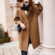 Негабаритных шерстяное пальто со стеганой отделкой Зимние теплые плащи Abrigos Mujer grey Camel длинный толстый женские шерстяные пальто плюс размер
