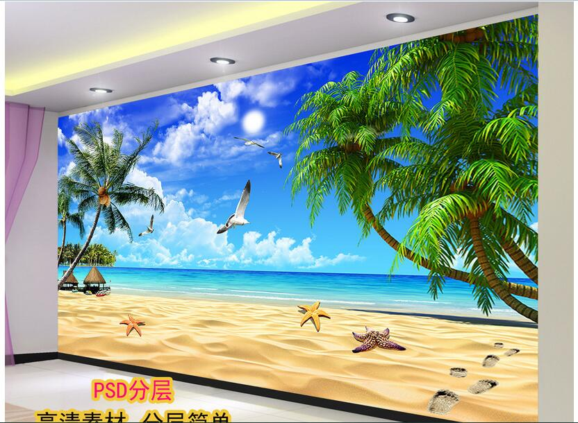 3d Room Wallpaper Custom Mural Non-woven Photo The Blue Sky Beach Decoration Painting 3d Wall Murals Wallpaper For Living Room