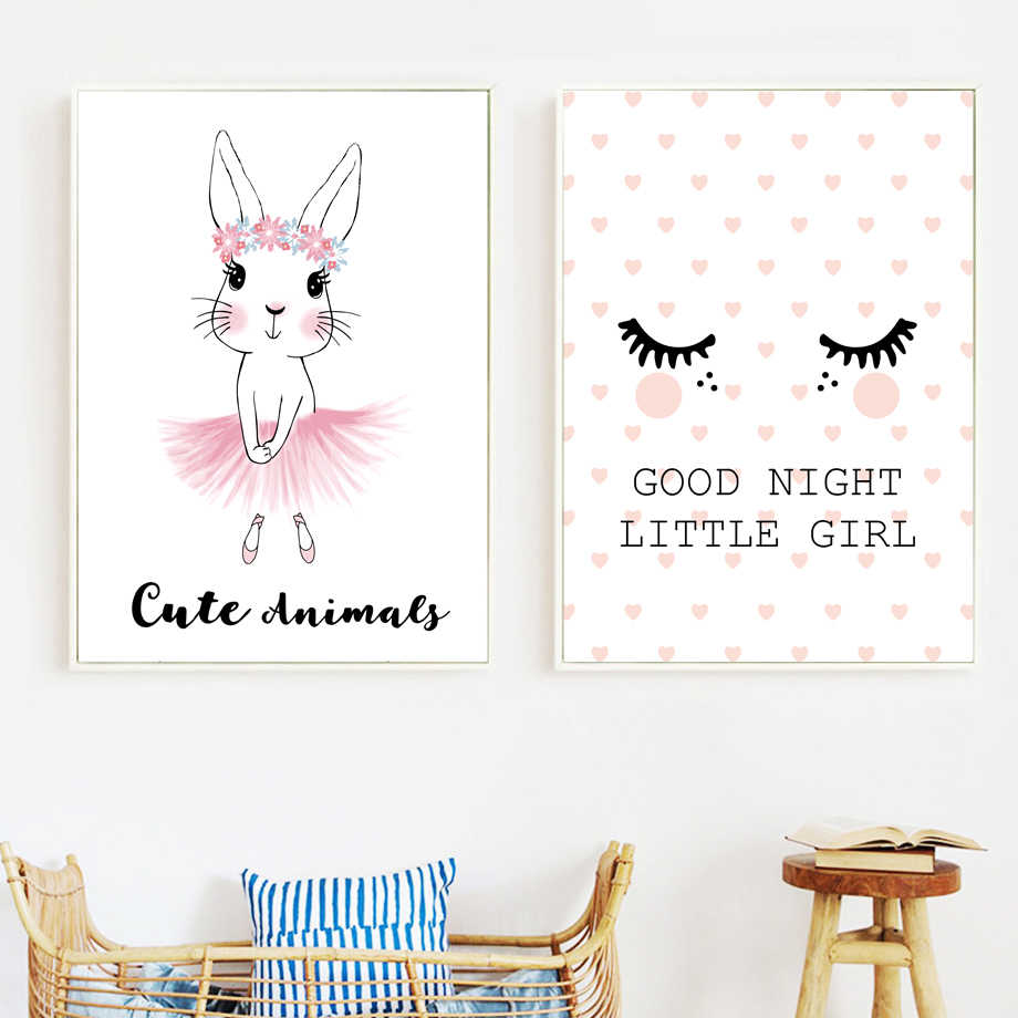 Ballet Bunny Good Night Little Girl Wall Art Canvas Painting Nordic Posters And Prints Wall Picture Kids Baby Room Nursery Decor Painting Calligraphy Aliexpress