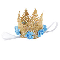 Multi Colors Mini Felt Glitter Lace Crown Headbands with Pretty Artificial Flowers For Baby Girls DIY Garments Hair Accessories