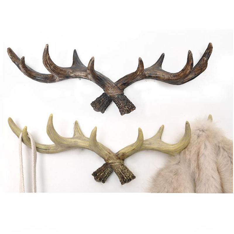 Retro coat rack antlers decoration Deer Head Animal Hanging hook creative Home decorative Living room bedroom wall decorations fashion deer bell head band christmas decorations