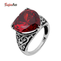 Szjinao 925 Sterling Silver Jewelry Garnet Wholesale Silver Details Antique Jewelry heart shaped Female Wedding Ring