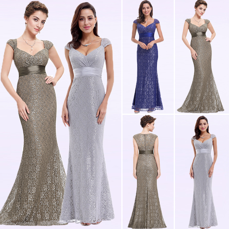 Women's Elegant Peach Collar Long Evening Party Dresses Ever Pretty EP08798 Empire Mermaid Lace V-neck Gold Evening Dresses