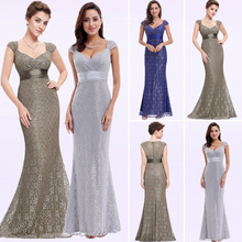 Womens Elegant Peach Collar Long Evening party Dresses Ever Pretty HE08798 Empire Mermaid Lace V-neck