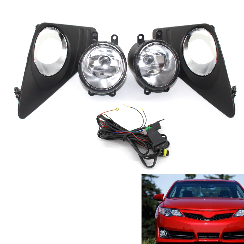 2Pcs Car Front Bumper Grille Driving Fog Light Lamp With Wiring Harness Switch Kit For Toyota Camry 2012-2014 Auto Accessories 1set front chrome housing clear lens driving bumper fog light lamp grille cover switch line kit for 2007 2009 toyota camry
