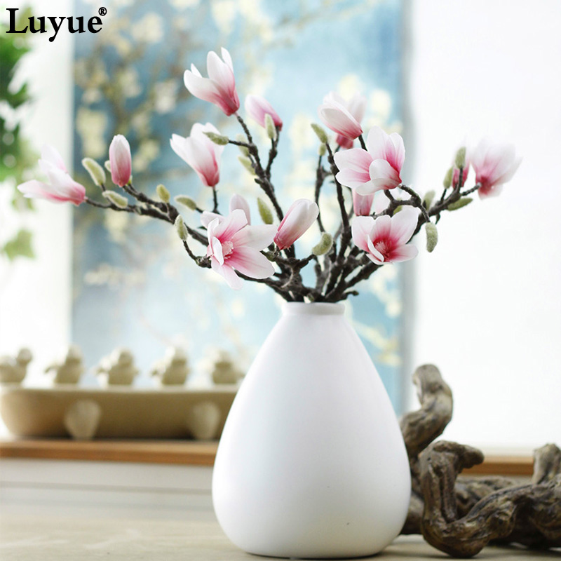 Luyue Real touch high quality Artificial Magnolia flower Home decor simulation 3D printing color plastic flowers heads fake rose