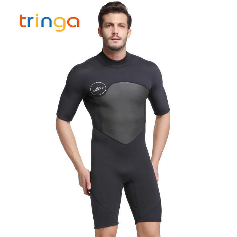 Pria Wetsuit 2 Mm Pendek Lengan Neoprene Wetsuit Pria Musim Panas Renang Scuba Diving Suit Triathlon One Piece Olahraga Suit pria