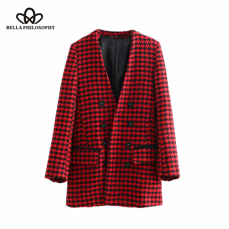Bella Philosophy 2018 Autumn Elegant Double Breasted Houndstooth Long Blazer Coat V Neck Pockets Outerwear Casual Casaco Femme