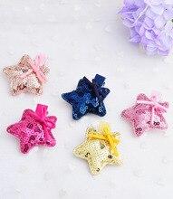 2 PIECES/LOT Fashion Korean cute paillette star hair pins  high quality Suede Fabric knots five stars barrettes accessories