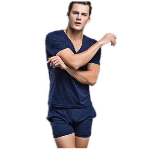 2016 Moda Hombres Sexy ropa de Dormir ropa de Dormir de Algodón de Los Hombres A Estrenar Ropa Interior Camisetas Interiores de Los Hombres Ocasionales Pijama Freeshipping