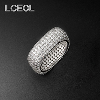 LCEOL New Design Luxury Jewelry CZ Diamonds Ring White Gold Color Full Inlay Clear Diamante Square