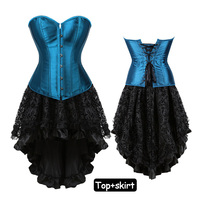 Sexy Blue Corset Bustier Top With Mini Skirt Slimming Dresses Waist Trainer Punk Costume Gothic Corsets Dress Plus Size 6XL
