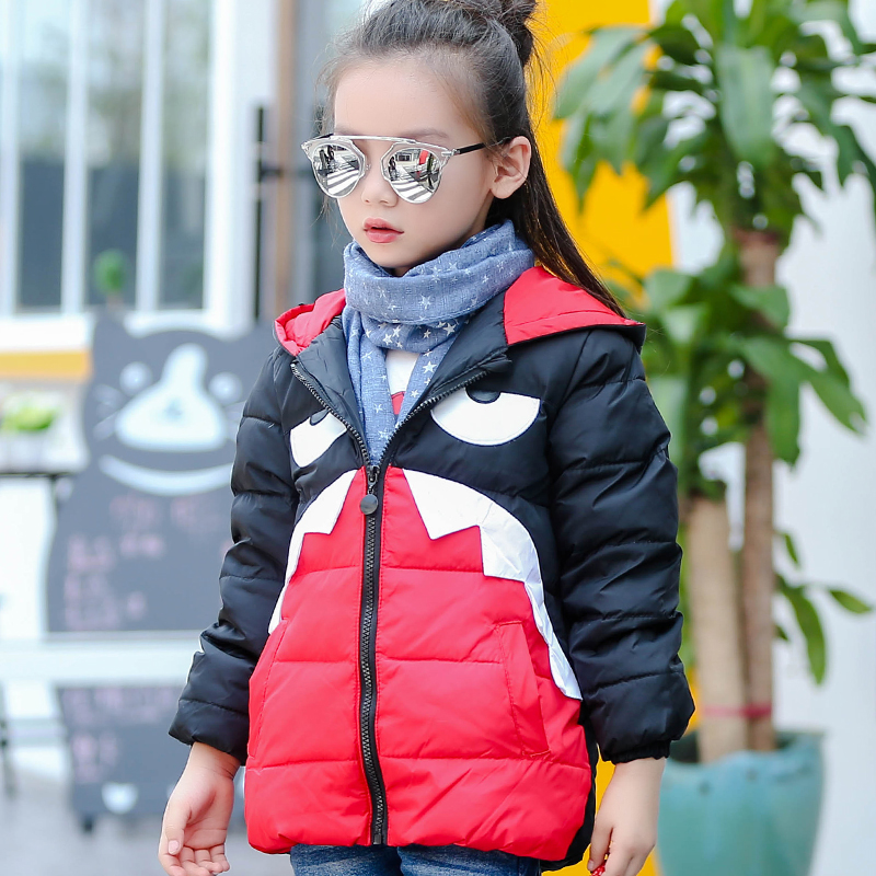 2016 Yeni çocuk Kış Ceket Mont Kız Aşağı Pamuk Parkas Ceket sıcak kalın baskı kızlar giyim