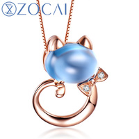 ZOCAI 18K rose gold 1.9 CT Certified Topaz gemstone cat shape pendant 0.01 ct diamond 925 silver chian necklace D03484