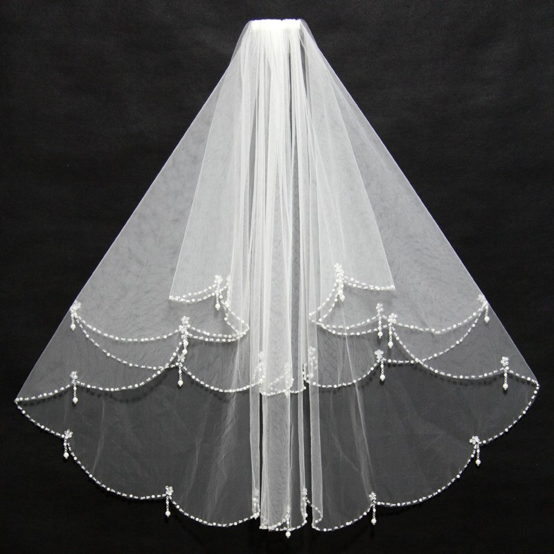 Women Bridal Veil With Comb 2 Layers Tulle Sequins Beads Bridal Veil Wedding Accessories 2018