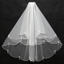 Women Bridal Veil With Comb 2 Layers Tulle Sequins Beads Wedding Accessories 2018