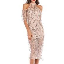 feitong Women Dress Tassel Cocktail Prom Gown  Halter Half Sleeve Off Shoulder Sequin  party dress vestidos de fiesta #w1230
