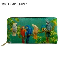 Twoheartsgirl Parrots Printing Women Long Wallet and Purse Casual Card Holder Women Clutch Bag Money Handbag Pu Leather Wallet thinkthendo women fashion pu leather clutch wallet card holder bag ladies long purse handbag