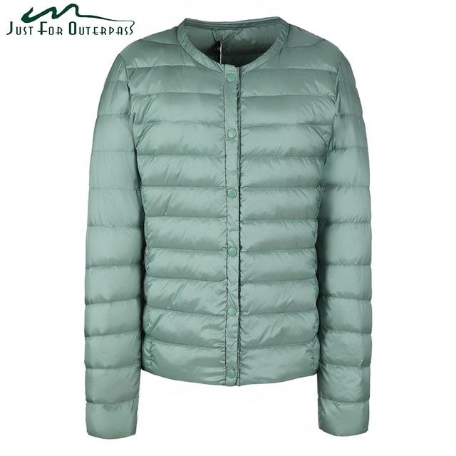 c7b29128903a 2017 New Spring Autumn White Duck Down Coat Women Casual Fashion Collarless  Ultra Light Down Jacket Female Warm Parka Plus Size