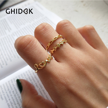 GHIDBK 925 Sterling Silver Hollow miłość pierścionki dla kobiet Anillos złoty kolor otwarty liść pierścienie wesela pierścionki zaręczynowe biżuteria prezent tanie i dobre opinie Moda Kobiety Zaręczyny Archiwalne Korona R0014 Zespoły weselne Brak Wszystko kompatybilny adjustable Fashion Opp Bag+Card