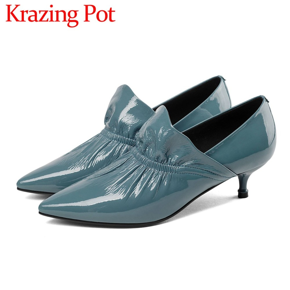 Graceful lady oxford pointed toe kitten med heel sleek genuine leather concise style dress dating high quality pleated pumps L41 swarovski graceful lady 5295386