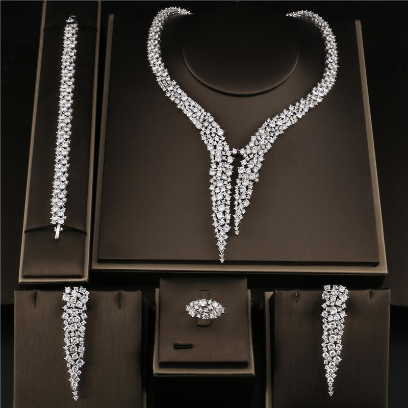 Luxury AAA Cubic Zriconia Stone Heavy Drop Earring Necklace Bracelet Adjustable Ring Wedding Jewelry Bridal Dress