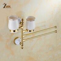 ZGRK BathroomTowel Rack Bathroom Kitchen Bath Rack Brushed Towel Rack Home With Cup Holder Sucker Hanger Supplies Bath