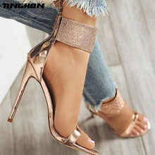 цена TINGHON Sexy Gladiator High Heels Open Toe Crystal Sandals Women Summer Platform Shoes Ladies Ankle Strap Shoes Black Gold онлайн в 2017 году