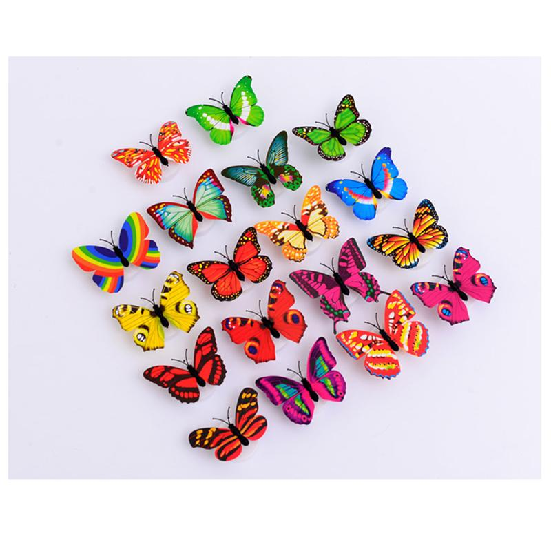 2pcs 3D LED Colorful Butterfly Decorative Light Stick on Wall Night Light for Xmas Festi ...