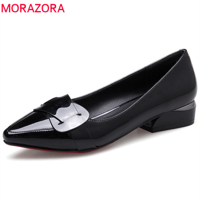 MORAZORA 2020 hot sale pointed toe summer shoes solid fashion pumpe women shoes casual comfortable low heels pumps women shoes