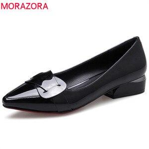 Image 1 - MORAZORA 2020 رائجة البيع أشار تو أحذية الصيف الصلبة موضة pumpe النساء أحذية غير رسمية مريحة منخفضة الكعب مضخات أحذية النساء