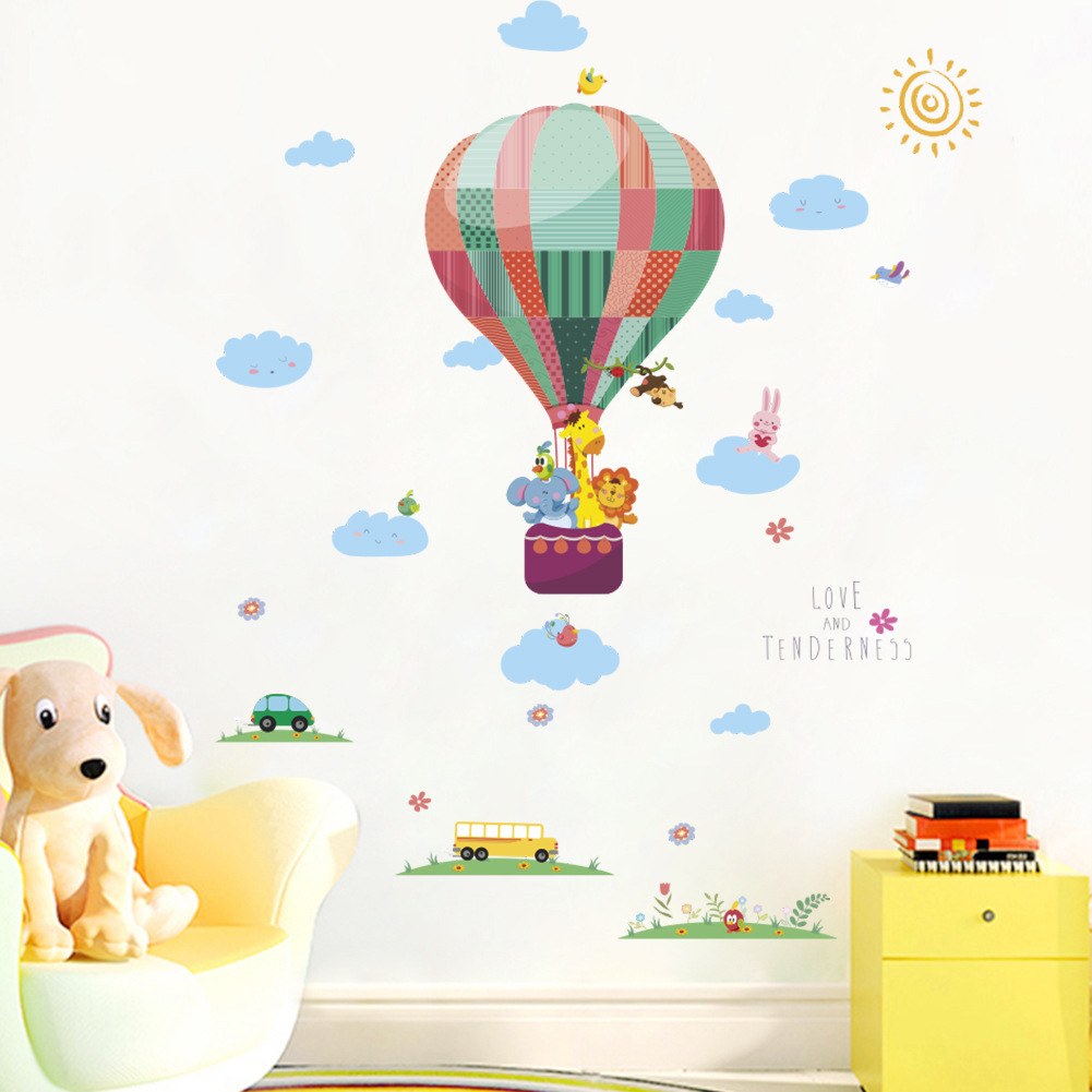 Small Animals Wall Decor Hot Air Balloon Wall Sticker For Kids Room
