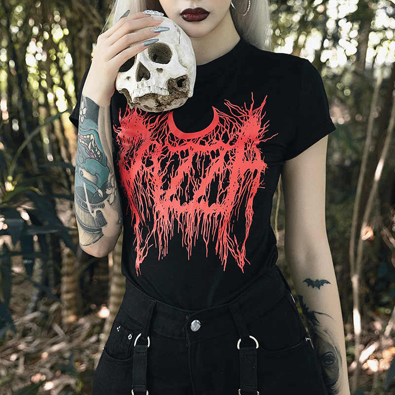 JIEZUOFANG Goth Dark Harajuku Grunge Gothic T-shirts For Women Vintage  Sexy Fashion Casual Female T-shirt Aesthetic O-neck Punk