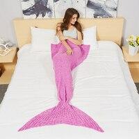 Yarn Knitted Mermaid Tail Blanket Crochet Blanket Adult Kids Size Throw Bed Wrap Sleeping Bag With