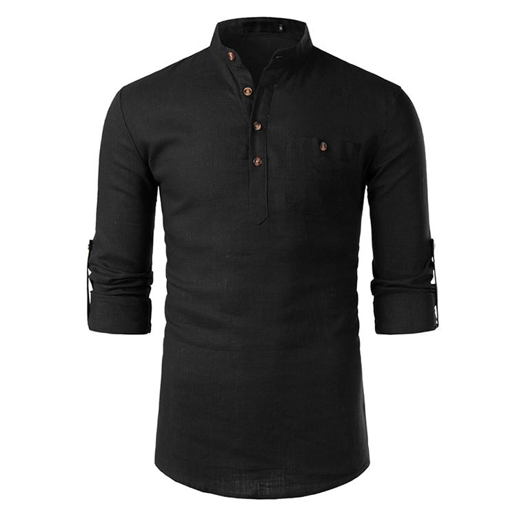 Men's Shirts Cotton Plaid Short Sleeves Casual Shirt For Men Stand Collar Button Design Solid Blouse Men