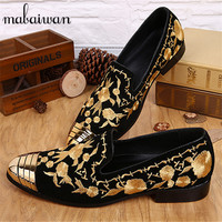 2017 New Fashion Wedding Dress Shoes Flats Trainers Espadrilles Men Customized Casual Flat Shoes Gold Embroidery