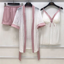 JULY'S SONG 3 Pieces Woman Spring Pajamas Set Sexy Lace Sling Satin Faux Silk Sleep
